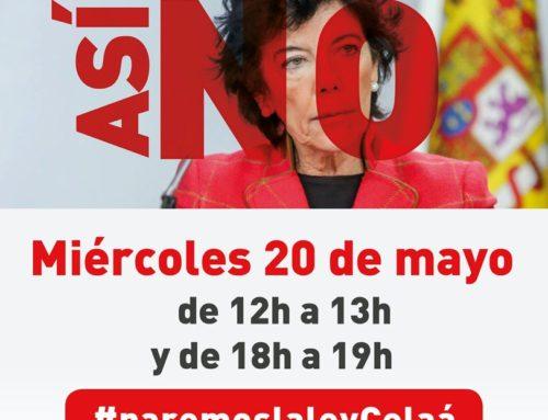 """Nueva """"Quedada digital"""" en Twitter contra la tramitación de la ley Celaá. El miércoles 20 de mayo de 12 a 13 y de 18 a 19"""