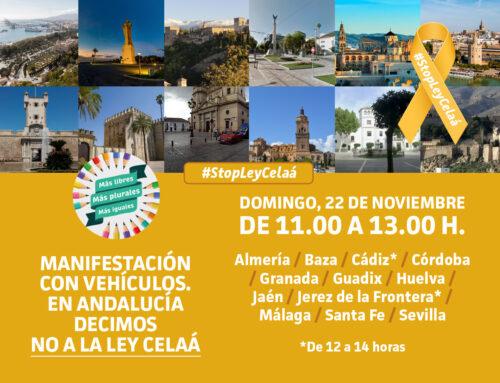 Domingo 22 de noviembre: ¡Acude a la manifestación en coche contra la LOMLOE!
