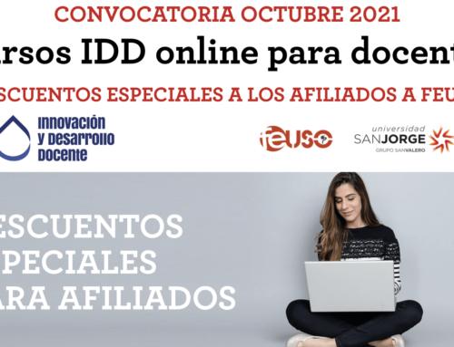 Cursos IDD online para docentes. Convocatoria de octubre 2021. Descuentos a los afiliados a FEUSO